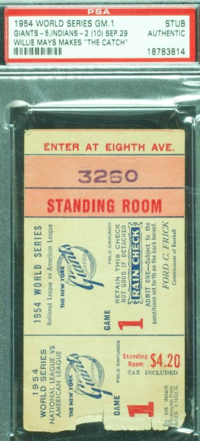 1954 World Series Game 1 Indians at Giants Ticket Stub Willie Mays Catch 649