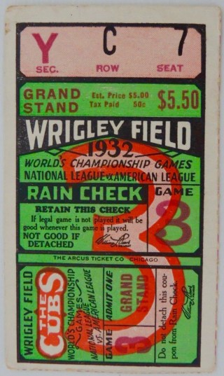 1932 World Series Game 3 Yankees at Cubs ticket stub Babe Ruth Called Shot 2832