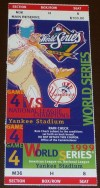 1999 World Series Game 4 ticket Braves at Yankees