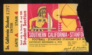 1950 NCAAF USC at Stanford ticket stub