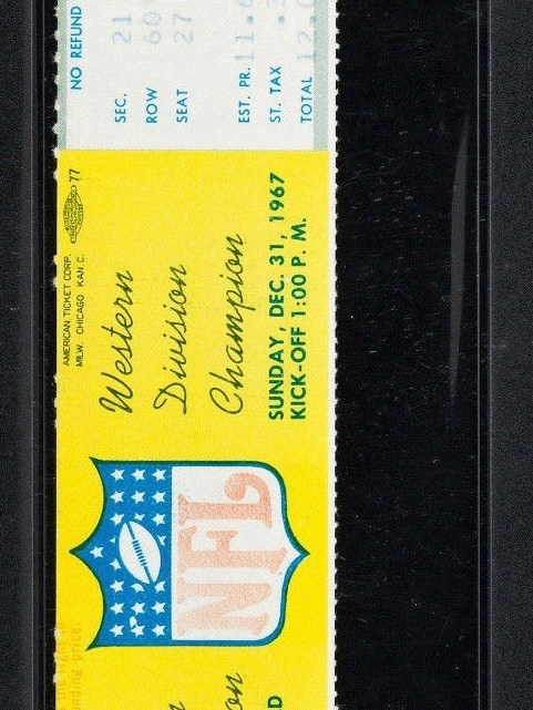 1967 NFL Championship Game The Ice Bowl Full Ticket