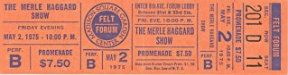 1975 Merle Haggard Felt Forum New York ticket stub