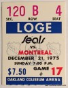 1975 NHL Canadiens at Seals ticket stub