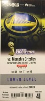 2016 Golden State Warriors Record Breaking 73rd Win Ticket Stub