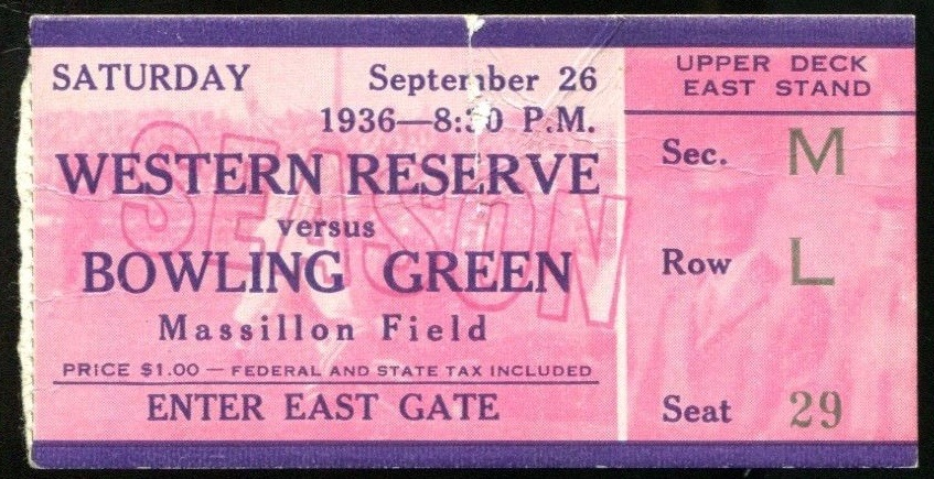 1936 NCAAF Bowling Green at Western Reserve ticket stub