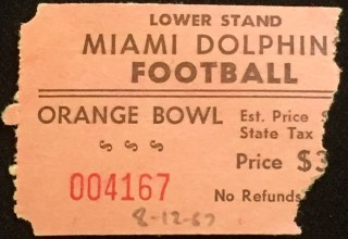 1967 NFL Chargers at Dolphins ticket stub