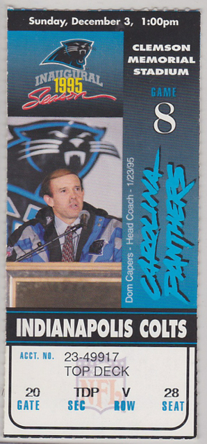 1995 NFL Colts at Panthers ticket stub