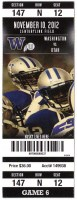 2012 NCAAF Utah at Washington ticket stub