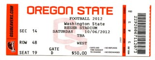 2012 NCAAF Washington State at Oregon State ticket stub