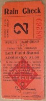 1909 World Series Game 2 Tigers at Pirates ticket stub