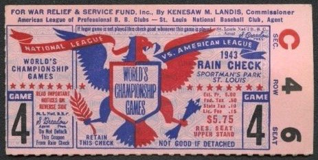 1943 World Series Game 4 Ticket Stub Yankees at Cardinals