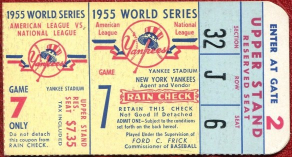 1955 World Series Game 7 ticket stub Dodgers at Yankees
