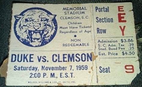 1959 NCAAF Duke at Clemson ticket stub