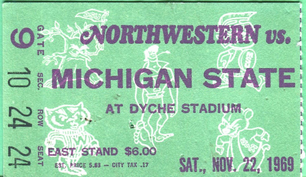 1969 NCAAF Michigan State at Northwestern ticket stub