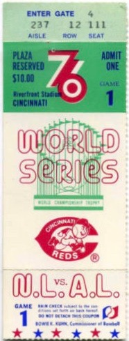 1976 World Series Game 1 ticket stub Yankees at Reds