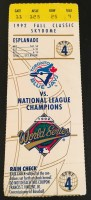 1992 World Series Game 4 ticket Braves at Blue Jays