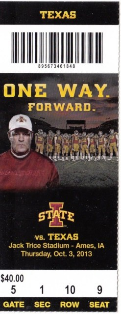 2013 NCAAF Texas at Iowa State ticket stub