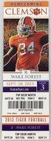 2013 NCAAF Wake Forest at Clemson ticket stub