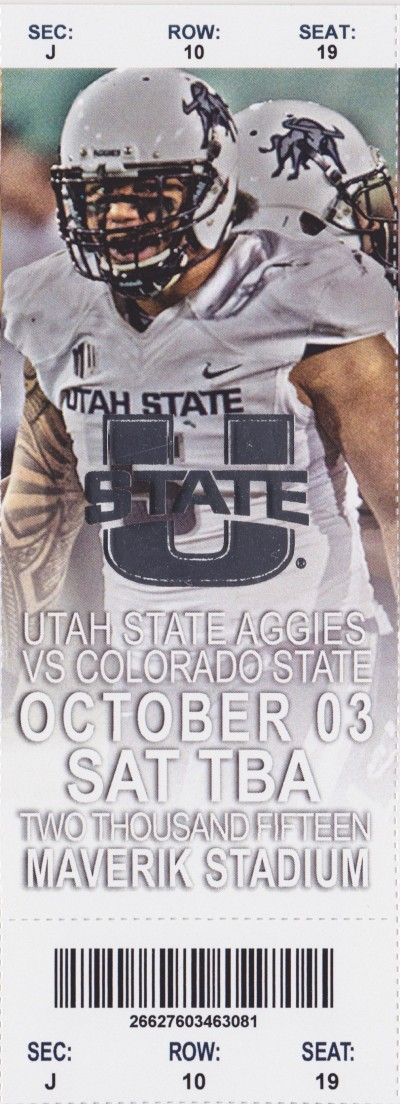 2015 Mountain West Utah State Aggies Full Ticket vs Colorado State Oct 3