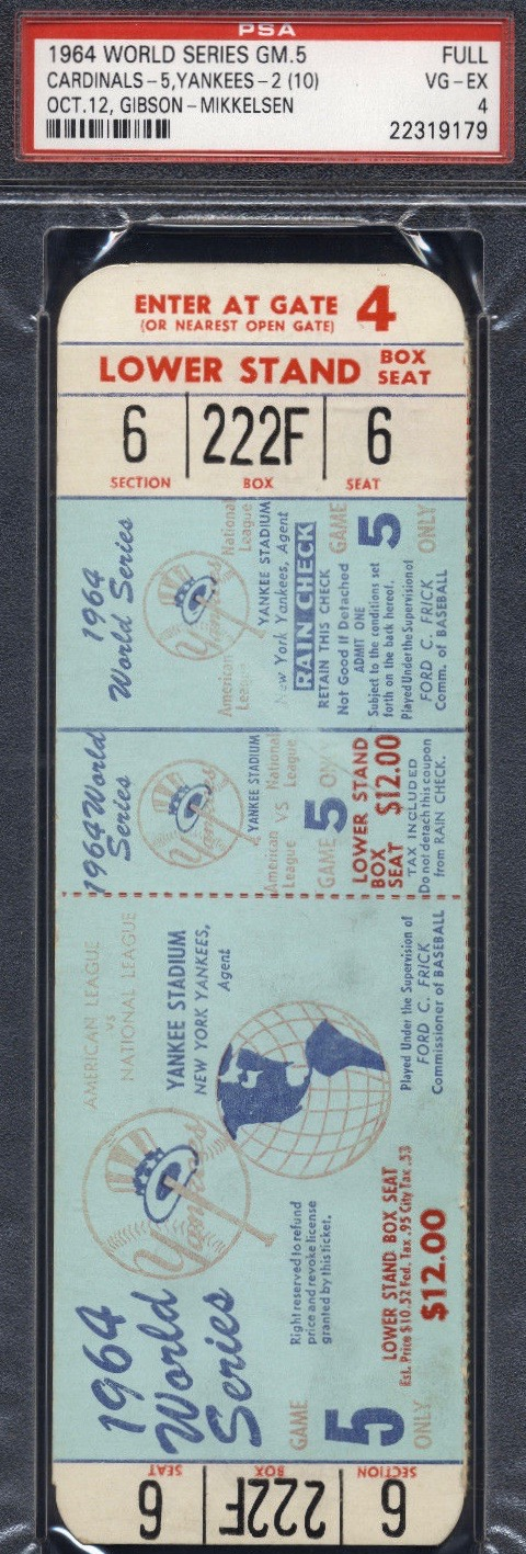 1964 World Series Game 5 unused ticket Cardinals vs Yankees