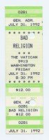 1992 Bad Religion Houston The Vatican ticket stub