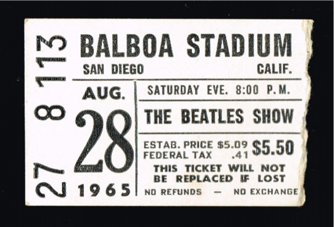 1965 The Beatles live in San Diego ticket stub