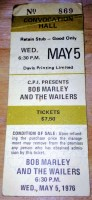 1976 Bob Marley and the Wailers in Toronto ticket stub