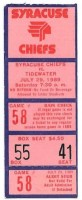 1989 Syracuse Chiefs ticket stub vs Tidewater
