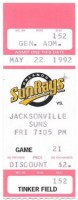 1992 Orlando SunRays ticket stub vs Jacksonville