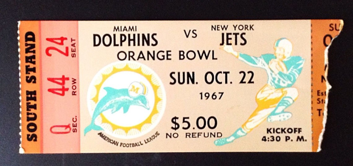 1967 AFL Jets at Dolphins ticket stub