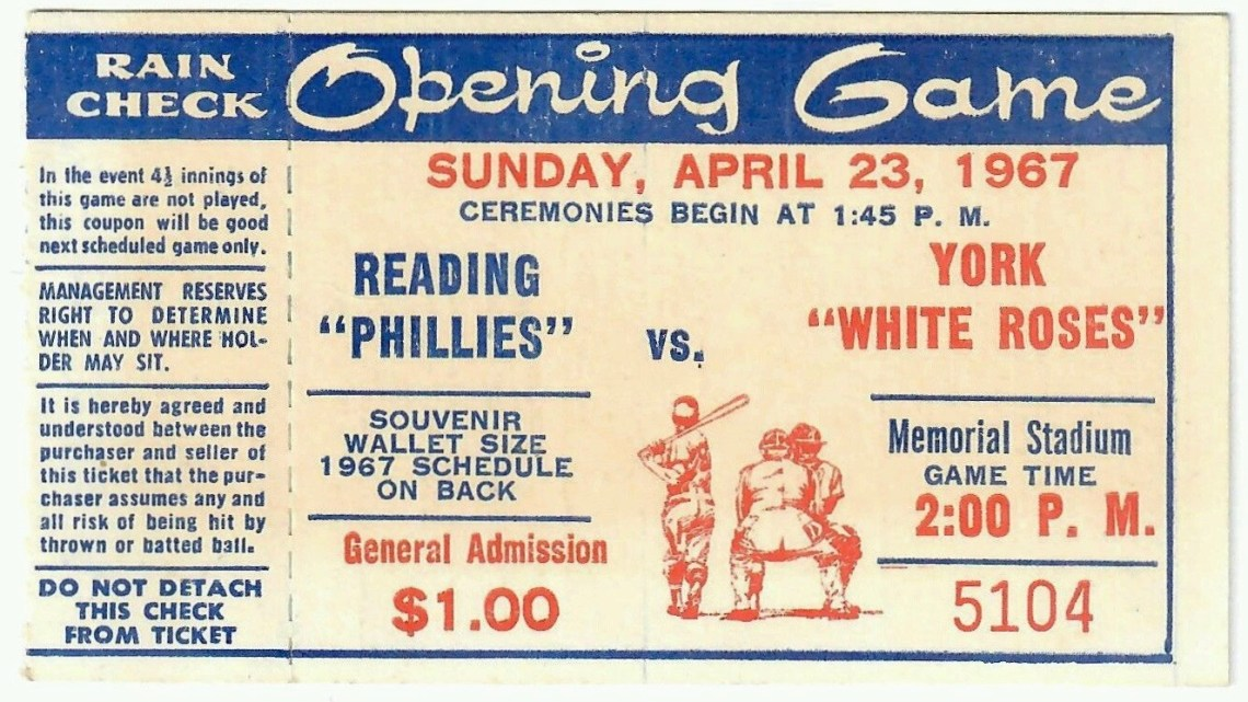 1967 MiLB Eastern League Reading Phillies vs York White Roses Opening Day Ticket Stub