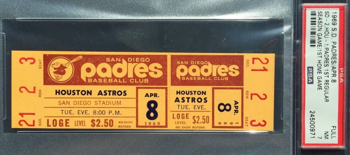 1969 MLB Astros at Padres Full Ticket First Game