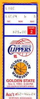 1990 NBA Clippers at Warriors ticket stub