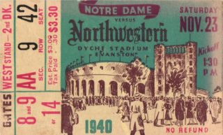 1940 NCAAF Notre Dame at Northwestern ticket stub