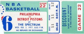 1977 NBA Pistons at 76ers ticket stub