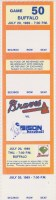 1989 Richmond Braves ticket stub vs Buffalo
