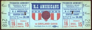 1967 ABA Oakland Oaks at New Jersey Americans Ticket