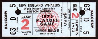 1973 WHA Nationals at Whalers Playoffs Full Ticket