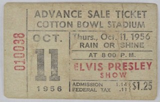 1956 Elvis Presley Concert Ticket Stub Cotton Bowl Stadium 501