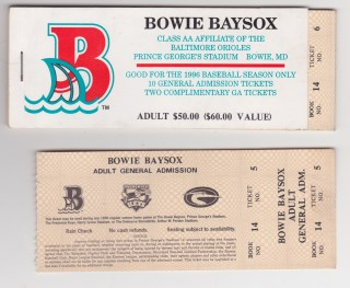 1996 MiLB Eastern League Bowie Baysox ticket stub