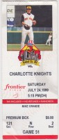 1999 Rochester Red Wings ticket stub vs Charlotte