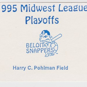 1995 Beloit Snappers Playoff ticket stub vs Rockford Cubbies