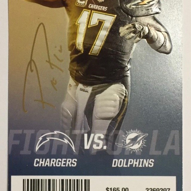 2017 NFL Dolphins at Chargers ticket stub