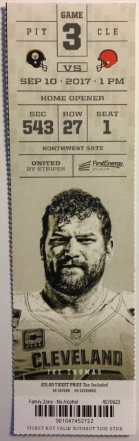2017 Cleveland Browns ticket stub vs Pittsburgh