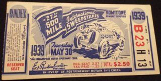 1939 Indianapolis 500 ticket stub