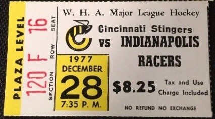 1977 WHA Indianapolis Racers at Cincinnati Stingers ticket stub
