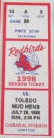 1998 Louisville Redbirds ticket stub vs Toledo