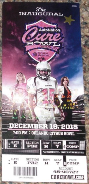 2015 Auto Nation Cure Bowl San Jose State vs Georgia State ticket stub