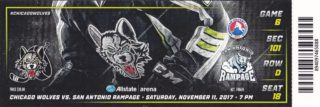 2017 AHL Rampage at Wolves ticket stub