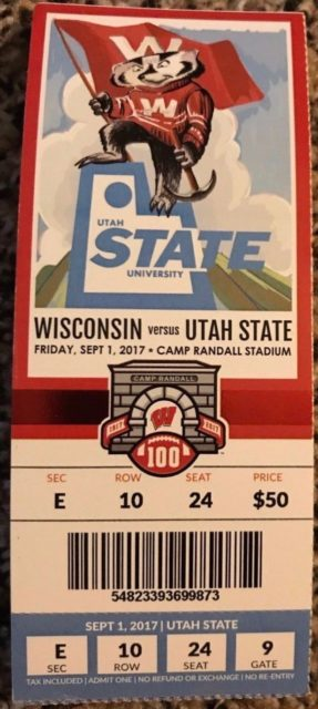 2017 NCAAF Utah State at Wisconsin ticket stub